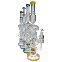 """Clover Glass - 20.5"""" Double Disc Multiperc Recycler Water Pipe - with 14M Bowl & 4mm Banger (MSRP $200.00)"""