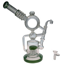 "Clover Glass - 14"" Donut Barrel Dual Intake Recycler Multiperc Water Pipe - with 14M Bowl & 4mm Banger (MSRP $185.00)"