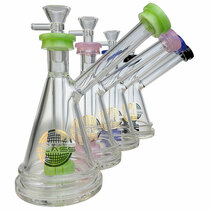"On Point Glass - 7"" Color Rim Bubbler Water Pipe - with 14M Bowl & 4mm Banger (MSRP $75.00)"