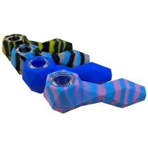 """4"""" Silicone Gem Cut Spoon Hand Pipe (MSRP $30.00)"""