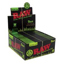 RAW® - Organic Hemp Black Rolling Papers King Size Slim (32ct) - Display of 50 (MSRP $3.00ea)