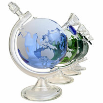 """On Point Glass - 8"""" Glow In The Dark World Globe Water Pipe Box Set - with 14M Bowl (MSRP $125.00)"""