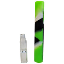 """4"""" Silicone Glass Tip Chillum Hand Pipe - 2 Pack (MSRP $30.00ea)"""