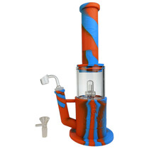 """13"""" Silicone Glass Perc Big Rig Water Pipe - with 14M Bowl & 4mm Banger (MSRP $70.00)"""