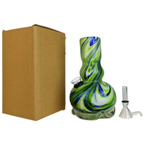 """6"""" Wave Bottom Pinch Grip Soft Glass Water Pipe - with Funnel Slider (MSRP $35.00)"""
