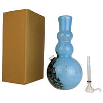 """10"""" Round Bottom 2 Bulb Pinch Grip Soft Glass Water Pipe - with Funnel Slider (MSRP $40.00)"""