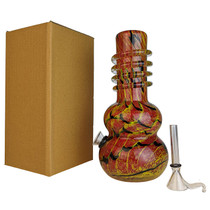 "8"" Double Bulb Bottom Twist Grip Soft Glass Water Pipe - with Funnel Slider (MSRP $30.00)"
