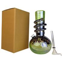 "8"" Round Bottom Twist Grip Soft Glass Water Pipe - with Funnel Slider (MSRP $30.00)"