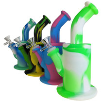 """8"""" Silicone Mixed Color Banger Hanger Water Pipe - with 14M Bowl & 4mm Banger (MSRP $45.00)"""