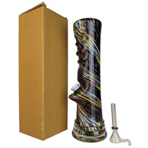 "10"" Straight Pipe Finger Grip Soft Glass Water Pipe - with Funnel Slider (MSRP $50.00)"