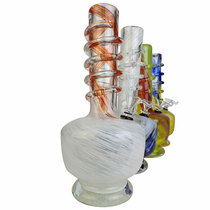 "12"" Lifted Rounded Square Base Twist Grip Soft Glass Water Pipe - with Funnel Slider (MSRP $40.00)"