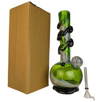 """13"""" Wave Base Spiral Wave Confetti Frit Soft Glass Water Pipe - with Funnel Slider (MSRP $65.00)"""