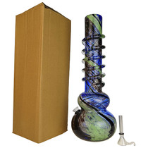 "14"" Round Bottom Twist Grip Soft Glass Water Pipe - with Funnel Slider (MSRP $50.00)"