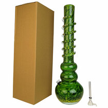 "18"" Round Bottom Twist Grip Soft Glass Water Pipe - with Funnel Slider (MSRP $65.00)"