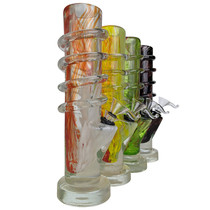 "9"" Twisting Grip Straight Soft Glass Water Pipe - with Funnel Slider (MSRP $50.00)"