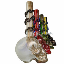 "14"" Big Skull Bottom Wave Grip Soft Glass Water Pipe - with Funnel Slider (MSRP $100.00)"