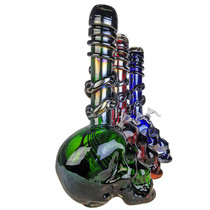 "14"" Electro Plated Big Skull Bottom Wave Grip Twisted Tip Soft Glass Water Pipe - with Funnel Slider (MSRP $100.00)"