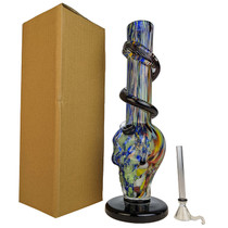"12"" Wide Base Skull Shape Growing Spiral Soft Glass Water Pipe - with Funnel Slider (MSRP $50.00)"