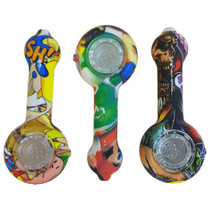 Silicone Water Transfer Design Spoon Hand Pipe (MSRP $20.00)