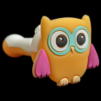 """4.5"""" Silicone Assorted Owl Head Hand Pipe - Single (MSRP $20.00)"""