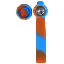 """5"""" Silicone Mixed Color SS Bowl Hand Pipe (MSRP $5.00)"""