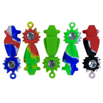 """3.5"""" Silicone Rich Metal Bowl Hand Pipe Keychain (MSRP $10.00)"""