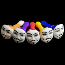 """4.5"""" Silicone Guy Fawkes Hand Pipe (MSRP $25.00)"""