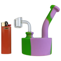 """6"""" Silicone Puck Bubbler Water Pipe - with 10M Banger (MSRP $20.00)"""