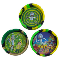 """3.5"""" Silicone Ashtray - Round Assorted Designs - Single (MSRP $7.00)"""