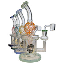 """On Point Glass - 9"""" Color Swirl Recycler Water Pipe - with 14M Banger (MSRP $115.00)"""