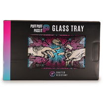 "10"" x 6"" Shatter-Resistant Glass Rolling Tray By Puff Puff Pass It *Drop Ship* (MSRP $19.99)"