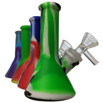 """5"""" Silicone Mixed Color Mini Beaker Water Pipe - with 14M Bowl & 4mm Banger (MSRP $25.00)"""