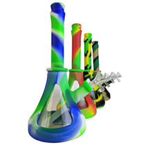 """10"""" Silicone Mixed Color Glass Mid Water Pipe - with 14M Bowl & 4mm Banger (MSRP $40.00)"""
