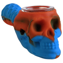 """5"""" Silicone Assorted Color Skull Spoon Hand Pipe with Poker (MSRP $20.00)"""