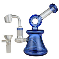 "6"" Colored Donut Mini Rig Water Pipe - with 14M Bowl & 4mm Banger (MSRP $65.00)"