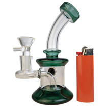 "6"" Colored Glitter Ball Mini Rig Water Pipe - with 14M Bowl & 4mm Banger (MSRP $65.00)"