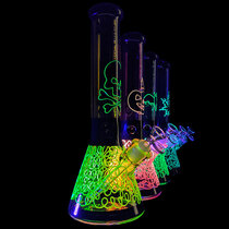 "Chill Glass - 13.5"" Glow in the Dark Outerwork Spaghetti Bottom Beaker Water Pipe - with 14M Bowl (MSRP $100.00)"