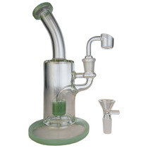 "9"" Colored Matrix Perc Banger Hanger Water Pipe - with 14M Bowl & 4mm Banger - Mint (MSRP $65.00)"