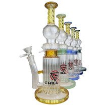 "Chill Glass - 10"" Diamond Tube Banger Hanger Water Pipe - with 14M Bowl & 4mm Banger (MSRP $90.00)"