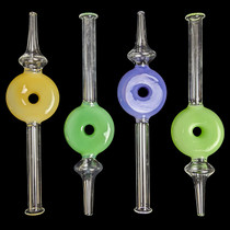 "7.5"" Assorted Color Donut Glass Nectar Straw - 4 Pack (MSRP $15.00ea)"