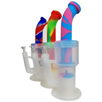 """12"""" Silicone Clear & Mixed Color Multi Perc Banger Hanger Water Pipe - with 14M Bowl & 4mm Banger (MSRP $60.00)"""
