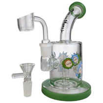 "7"" RM Cartoon Decal Fused Perc Banger Hanger Water Pipe - with 14M Bowl & 4mm Banger (MSRP $45.00)"