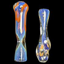 "3.25"" Assorted Fumed Line Work Chillum Hand Pipe - 2 Pack (MSRP $25.00ea)"