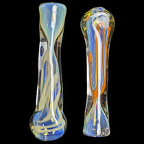 "3.5"" Assorted Flat Mouth Fumed Work Chillum Hand Pipe - 2 Pack (MSRP $30.00ea)"