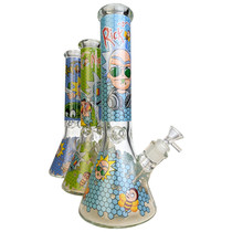 """13.5"""" RM Honeycomb Decal Beaker Water Pipe - with 14M Bowl (MSRP $75.00)"""