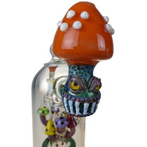 "Lookah - 9"" Multi Colored Mushroom Banger Hanger Water Pipe - with 14M Bowl & 4mm Banger (MSRP $315.00)"