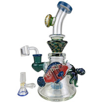"""TATAOO - 9"""" Under The Sea Flower Banger Hanger Water Pipe - with 14M Bowl & 4mm Banger (MSRP $200.00)"""
