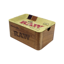 RAW® - Wooden Cache Box With Metal Rolling Tray Lid - Mini (MSRP $65.00)