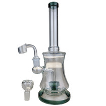 """10"""" Assorted Color Trim Showerhead Perc Big Rig Water Pipe - with 14M Bowl & 4mm Banger (MSRP $45.00)"""
