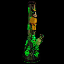 """15"""" Glow In The Dark Outer Work Angry Mutant Beaker Water Pipe - with 14M Bowl (MSRP $105.00)"""